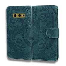 Voor Samsung Galaxy S10e Tiger Embossing Pattern Horizontale Flip Lederen Case met Holder & Card Slots & Wallet(Groen)