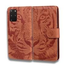 Voor Samsung Galaxy S20 Plus Tiger Embossing Pattern Horizontale Flip Lederen Case met Holder & Card Slots & Wallet(Brown)