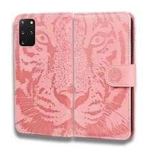 Voor Samsung Galaxy S20 Plus Tiger Embossing Pattern Horizontale Flip Lederen Case met Holder & Card Slots & Wallet(Pink)