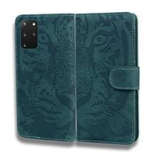 Voor Samsung Galaxy S20 Plus Tiger Embossing Pattern Horizontale Flip Lederen Case met Holder & Card Slots & Wallet(Groen)