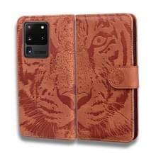Voor Samsung Galaxy S20 Ultra Tiger Embossing Pattern Horizontale Flip Lederen Case met Holder & Card Slots & Wallet(Brown)