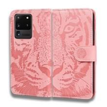 Voor Samsung Galaxy S20 Ultra Tiger Embossing Pattern Horizontale Flip Lederen Case met Holder & Card Slots & Wallet(Pink)