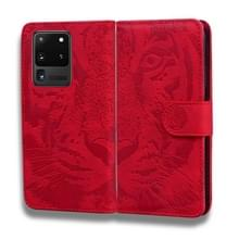 Voor Samsung Galaxy S20 Ultra Tiger Embossing Pattern Horizontale Flip Lederen Case met Holder & Card Slots & Wallet(Red)