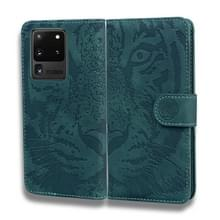 Voor Samsung Galaxy S20 Ultra Tiger Embossing Pattern Horizontale Flip Lederen Case met Holder & Card Slots & Wallet(Groen)