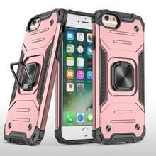 Voor iPhone 6 & 6s Magnetic Armor Shockproof TPU + PC Case met Metalen RingHouder (Rose Gold)