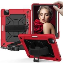 Contrast Color Robot Shockproof Siliconen + PC Beschermhoes met houder voor iPad Air (2020) 10.9 (Rood Zwart)