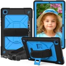 Voor Samsung Galaxy Tab A7 10.4 (2020) T500/T505 Contrast Color Shockproof Siliconen + PC Beschermhoes met houder (Zwart Blauw)