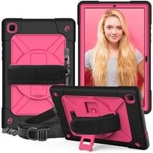 Voor Samsung Galaxy Tab A7 10.4 (2020) T500/T505 Contrast Color Shockproof Siliconen + PC Beschermhoes met houder (Black Rose Red)