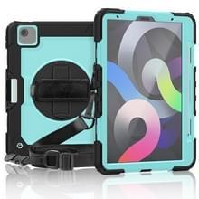 Schokbestendige Kleurrijke Siliconen + PC Beschermhoes met houder & schouderband & handband & pensleuf iPad Air (2020) 10.9 (Zwart LichtBlauw)