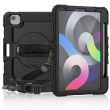 Schokbestendige Kleurrijke Siliconen + PC Beschermhoes met houder & schouderband & handband & pensleuf Voor iPad Air (2020) 10.9 (Zwart)