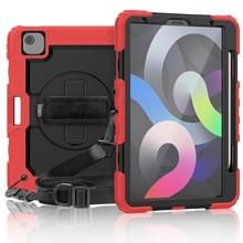 Schokbestendige Kleurrijke Siliconen + PC Beschermhoes met houder & schouderband & handband & pensleuf Voor iPad Air (2020) 10.9 (Rood)