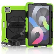 Schokbestendige kleurrijke siliconen + PC Beschermhoes met houder & schouderband & handband & pensleuf Voor iPad Air (2020) 10.9 (Geelgroen)