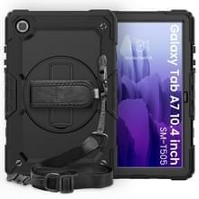 Voor Samsung Galaxy Tab A7 (2020) T500/T505 Schokbestendige Kleurrijke Siliconen + PC Beschermhoes met Holder & Schouderband & Handband & Pen slot(Zwart)