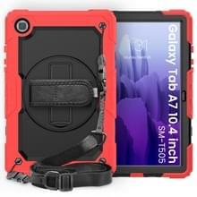 Voor Samsung Galaxy Tab A7 (2020) T500/T505 Schokbestendige Kleurrijke Siliconen + PC Beschermhoes met Holder & Schouderband & Handband & Pen slot(Rood)