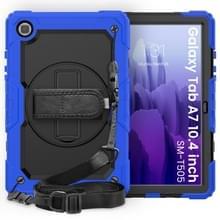 Voor Samsung Galaxy Tab A7 (2020) T500/T505 Schokbestendige Kleurrijke Siliconen + PC Beschermhoes met Holder & Schouderband & Handband & Pen slot(Blauw)