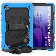 Voor Samsung Galaxy Tab A7 (2020) T500/T505 Schokbestendige Kleurrijke Siliconen + PC Beschermhoes met Holder & Schouderband & Handband & Pen slot (lichtblauw)