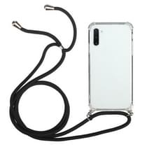Voor Samsung Galaxy Note10 Vierhoek anti-val transparante TPU beschermhoes met Lanyard(Zwart)
