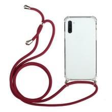 Voor Samsung Galaxy Note10 Vierhoek anti-val transparante TPU beschermhoes met Lanyard(Rood)