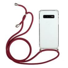 Voor Samsung Galaxy S10 5G Vierhoek anti-val transparante TPU beschermhoes met Lanyard(Rood)