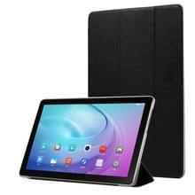Voor Samsung Galaxy Tab A7 10.4 T500 TPU Silk Texture Drievoudige horizontale flip lederen behuizing met houder(zwart)