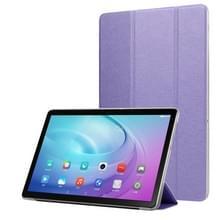 Voor Samsung Galaxy Tab A7 10.4 T500 TPU Silk Texture Drievoudige horizontale flip lederen behuizing met houder(Paars)