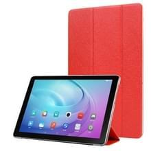 Voor Samsung Galaxy Tab A7 10.4 T500 TPU Silk Texture Drievoudige horizontale flip lederen behuizing met houder(rood)