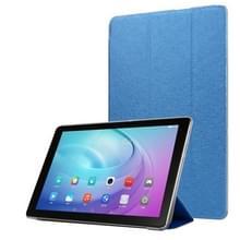 Voor Samsung Galaxy Tab A7 10.4 T500 TPU Zijde textuur drievoudige horizontale flip lederen behuizing met houder (blauw)