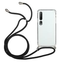 Voor Xiaomi Mi 10 Schokbestendige Transparante TPU-beschermhoes met Lanyard(Zwart)