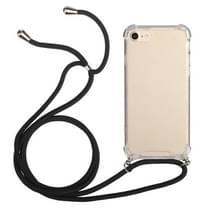 Vierhoekige schokbestendige transparante TPU-beschermhoes met Lanyard voor iPhone 8 Plus & 7 Plus(Zwart)