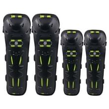 CS-820A1 4 PCS/Set Motorcycle Cycling Protective Gear Windproof Fall-proof Reflecterende Knie Elleboog Protector Pads Cover (Zwart Groen)