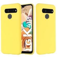 Voor LG K41S Pure Color Liquid Siliconen Schokbestendige Full Coverage Case (Geel)
