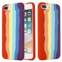 Rainbow Liquid Siliconen Schokbestendige volledige dekking beschermhoes voor iPhone 7 Plus / 8 Plus
