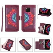 Voor Huawei Mate 20 Pro Printing Dual-color Half Mandala Patroon Dual-side Magnetische gesp horizontale flip lederen kast met Holder & Card Slots & Wallet & Photo Frame & Lanyard(Wine Red)