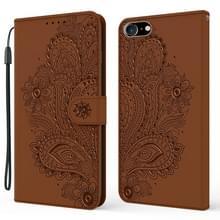 Voor iPhone SE (2020) Peacock Embossed Pattern Horizontal Flip Leather Case met Holder & Card Slots & Wallet & Lanyard(Brown)