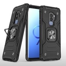 Voor Samsung Galaxy S9+ Magnetic Armor Shockproof TPU + PC Case met metalen ringhouder(Zwart)
