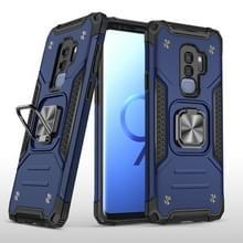 Voor Samsung Galaxy S9+ Magnetic Armor Shockproof TPU + PC Case met metalen ringhouder(Blauw)