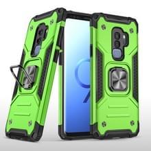 Voor Samsung Galaxy S9+ Magnetic Armor Shockproof TPU + PC Case met metalen ringhouder(Groen)