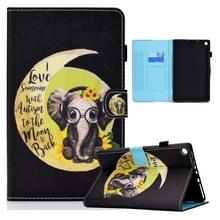 Voor Amazon Kindle Fire HD10 2015 / 2017 / 2019 Gekleurde tekening Horizontale Flip Lederen Case met Holder & Card Slots & Sleep / Wake-up Functie(Moon Baby Elephant)