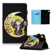 Voor Lenovo Tab M10 Plus Gekleurde tekening Horizontale Flip Lederen case met Holder & Card Slots & Sleep / Wake-up Function(Moon Baby Elephant)