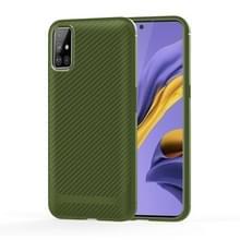 Voor Samsung Galaxy A41 Carbon Fiber Textuur Schokbestendige TPU beschermhoes (groen)