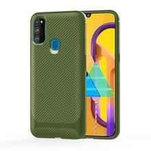 Voor Samsung Galaxy A21s Carbon Fiber Texture Shockproof TPU Beschermhoes (Groen)