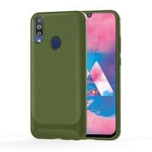Voor Samsung Galaxy A70e Carbon Fiber Texture Shockproof TPU Beschermhoes (Groen)