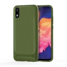 Voor Samsung Galaxy M01 & A01 Core Carbon Fiber Texture Schokbestendige TPU Beschermhoes(groen)