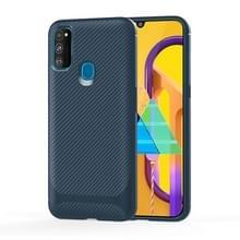Voor Samsung Galaxy M31 Carbon Fiber Texture Schokbestendige TPU beschermhoes (blauw)