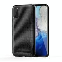 Voor Samsung Galaxy Note20 Carbon Fiber Texture Schokbestendige TPU beschermhoes (Zwart)