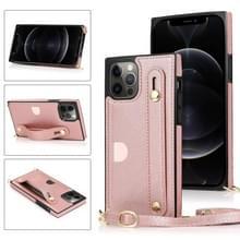 PU+TPU Shockproof Beschermhoes met Crossbody Lanyard & Holder & Card Slot & Polsbandje Voor iPhone 12 / 12 Pro(Rose Gold)