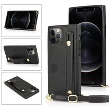 PU+TPU Shockproof Beschermhoes met Crossbody Lanyard & Houder & Kaartslot & Polsbandje Voor iPhone 12 / 12 Pro(Zwart)