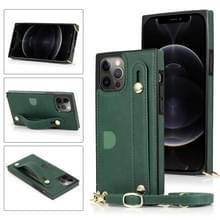 PU+TPU Shockproof Beschermhoes met Crossbody Lanyard & Holder & Card Slot & Polsbandje Voor iPhone 12 / 12 Pro(Groen)