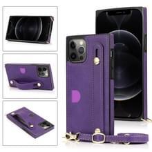 PU+TPU Schokbestendige beschermhoes met Crossbody Lanyard & Holder & Card Slot & Polsbandje Voor iPhone 12 Pro Max(Paars)