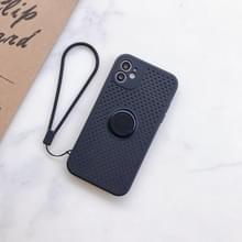 Liquid Siliconen Schokbestendige Mesh Case met magnetic ringhouder & Lanyard Voor iPhone 11 Pro Max(Zwart)